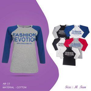 Kaos Fashion Lengan 7/8 Wanita Size M GJ223