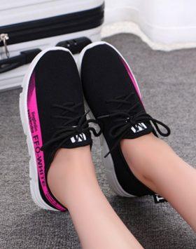 Sepatu Sneakers Wanita Hitam Pink SPT145 5