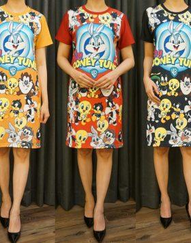 Dress Bahan Scuba Lengan Pendek GJD 043