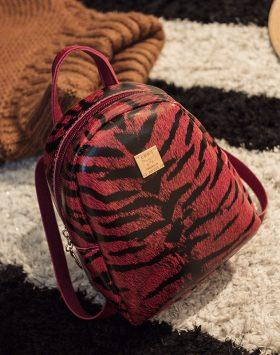 Tas Ransel Mini Motif Kulit Macan GJT224 Warna Merah