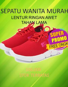 Sepatu Sport Wanita Fashion Import Merah