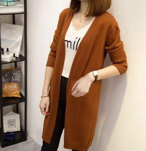 Outer Cardigan Panjang Asli Import Knit Rajut Warna Coklat GJ 507