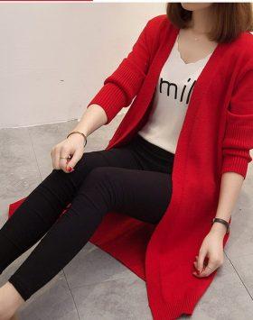 Outer Cardigan Panjang Asli Import Knit Rajut Warna Merah GJ 515