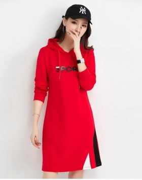 Hoody Dress Wanita Import Sport Model Terbaru Warna Merah GJ 416.02
