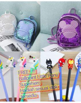 Tas Anak Justice Model Usap Ubah Warna Sequini Bag Import GJTA 624
