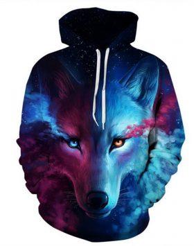 Jaket Sweater Gambar Serigala 3 Dimensi Hoodie 3d
