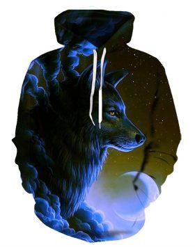 Sweater 3 Dimensi Jaket Hoodie 3d Gambar Serigala