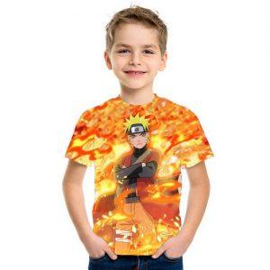 Baju Kaos Anak 3d Kartun Naruto Api