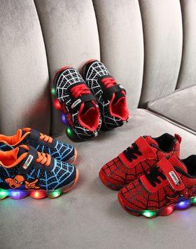 Sepatu Lampu Led Anak Spiderman Murah