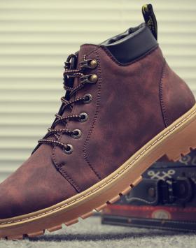 Sepatu Boots Pria Kulit PU Model Sekarang