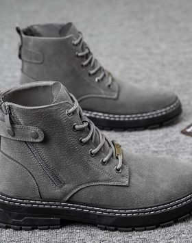 Sepatu Boots Resleting Pria Import Warna Abu Abu