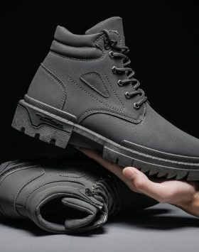 Sepatu Pria Boots Tinggi Warna Abu Abu Import