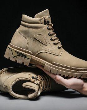 Sepatu Pria Boots Tinggi Warna Coklat Import