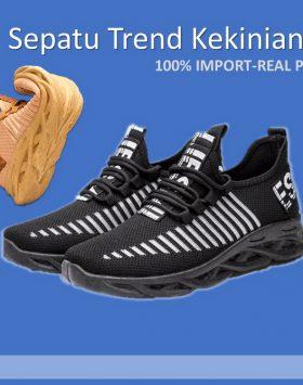 Sepatu Pria Sneakers Bernapas Warna Hitam Kekinian