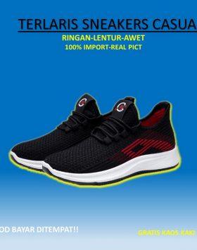 Sepatu Pria Sneakers Sport Warna Hitam Kekinian
