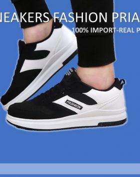 Sepatu Pria Sport Fasihon Warna Putih Hitam Import