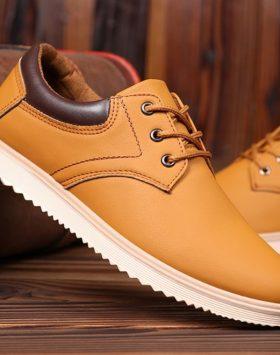 Sepatu Sneakers Pria Casual Warna Coklat