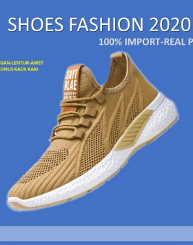 Sepatu Sneakers Pria Import Warna Coklat Khaki
