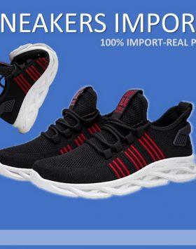 Sepatu Sneakers Pria Sport Warna Hitam Murah