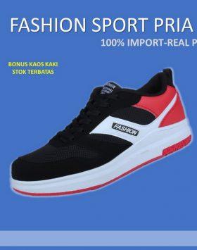 Sepatu Sneakers Pria Warna Hitam Merah Kekinian