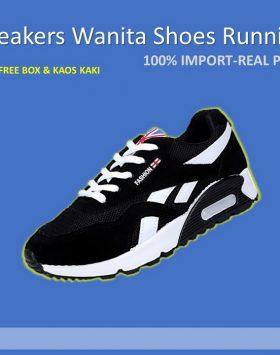 Sepatu Sneakers Wanita Sport Fashion Warna Hitam